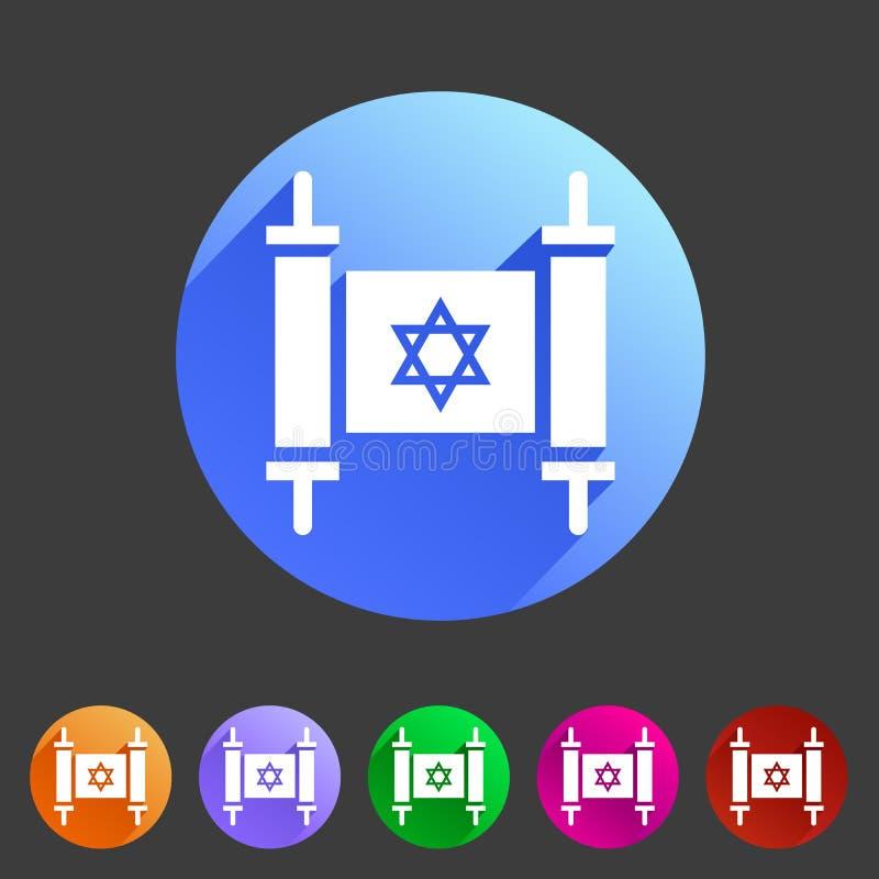 Do ícone judaico do livro do rolo de Torah etiqueta lisa do logotipo do símbolo do sinal da Web ilustração stock