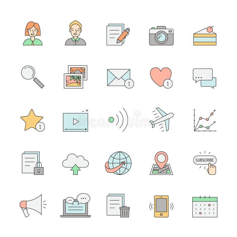 Do ícone simples do projeto do esboço do blogue multicolorido ajustado ilustração stock