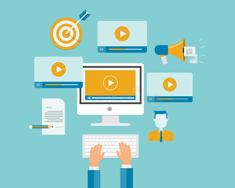 Do índice video do mercado do negócio conceito em linha ilustração do vetor