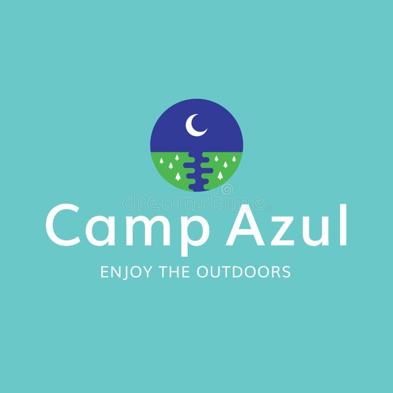 Do acampamento da lua logotipo da recreação fora imagem de stock