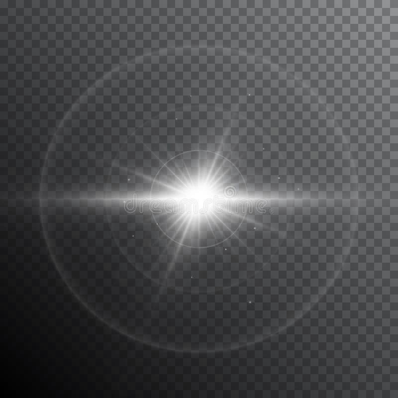 Do alargamento claro da lente do fulgor efeito especial Starburst brilhante com sparkles Flash transparente do sol com projetor e ilustração stock