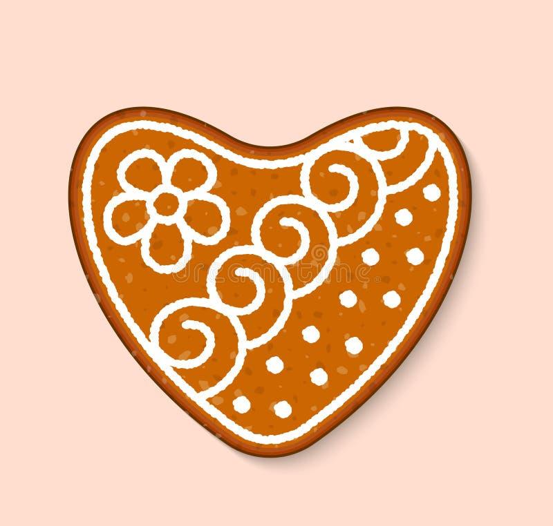 Do alimento cozido doce das sobremesas do vetor do bolo de casamento do amor do coração da cookie do Natal bolos tradicionais par ilustração do vetor