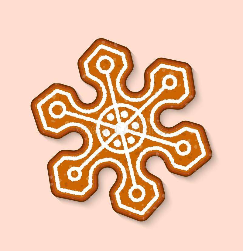 Do alimento cozido doce das sobremesas do vetor do floco de neve dos doces da cookie do Natal bolos tradicionais para o jantar e  ilustração stock
