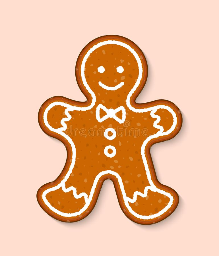 Do alimento doce das sobremesas do bolo do vetor do homem da cookie do Natal os bolos tradicionais para o jantar do Xmas e o cake ilustração do vetor