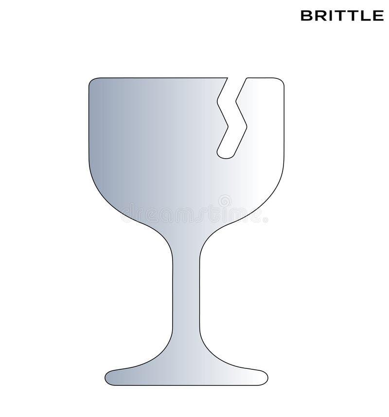 Do alimento frágil do ícone do vinho projeto editável de vidro do símbolo ilustração royalty free
