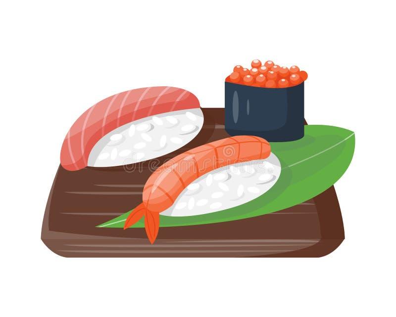 Do alimento tradicional japonês da culinária do sushi ícones gourmet saudáveis lisos e cultura de placa oriental da refeição de Á ilustração stock