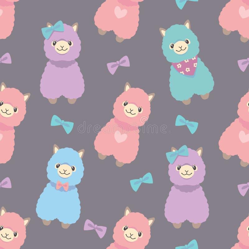Do animal pastel colorido bonito da alpaca do estilo dos desenhos animados do lama teste padrão gráfico sem emenda da ilustração ilustração stock