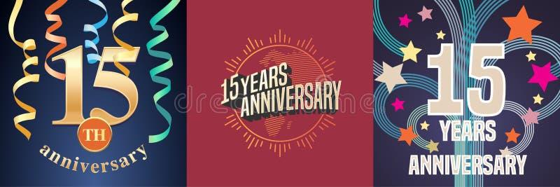 15 do aniversário anos de grupo de ícones do vetor, logotipo da celebração ilustração do vetor