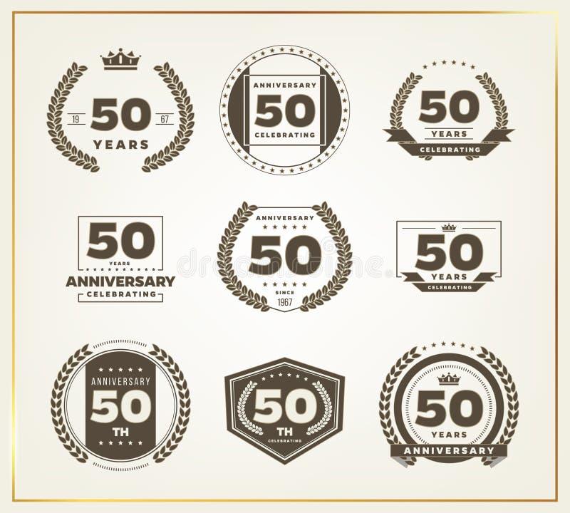 50 do aniversário anos de grupo do logotipo ilustração royalty free
