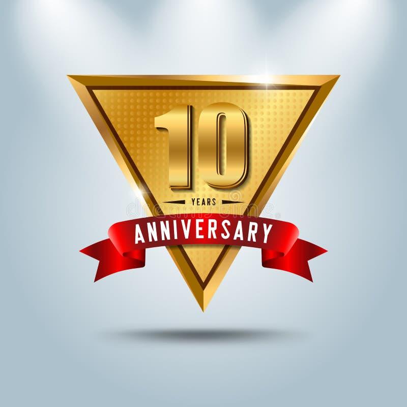 10 do aniversário anos de logotype da celebração Em dourado do aniversário ilustração stock