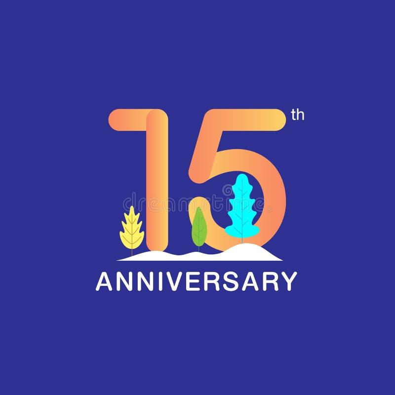 15 do aniversário anos de logotype da celebração Número multicolorido com folha e fundo modernos da neve Projeto para a brochura, ilustração do vetor