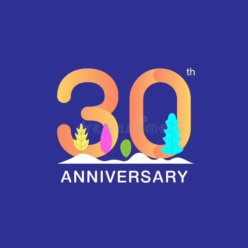 30 do aniversário anos de logotype da celebração Número multicolorido com folha e fundo modernos da neve Projeto para a brochura, ilustração royalty free