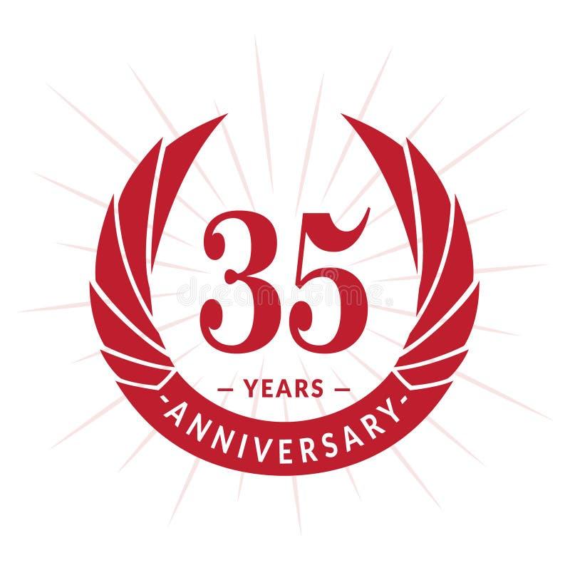 35 do aniversário anos de molde do projeto Projeto elegante do logotipo do aniversário Trinta e cinco anos de logotipo ilustração royalty free