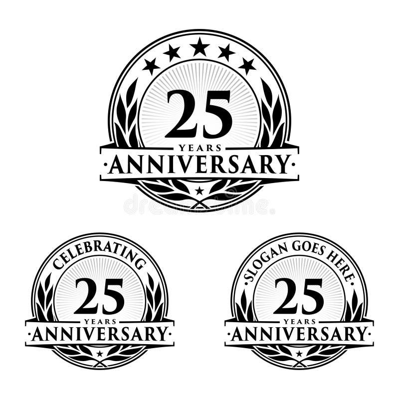 25 do aniversário anos de molde do projeto Vetor e ilustração do aniversário 25o logotipo ilustração do vetor
