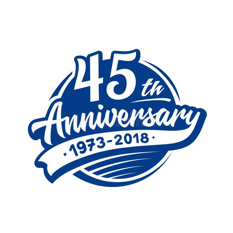 45 do aniversário anos de molde do projeto Vetor e ilustração 45th logotipo ilustração do vetor
