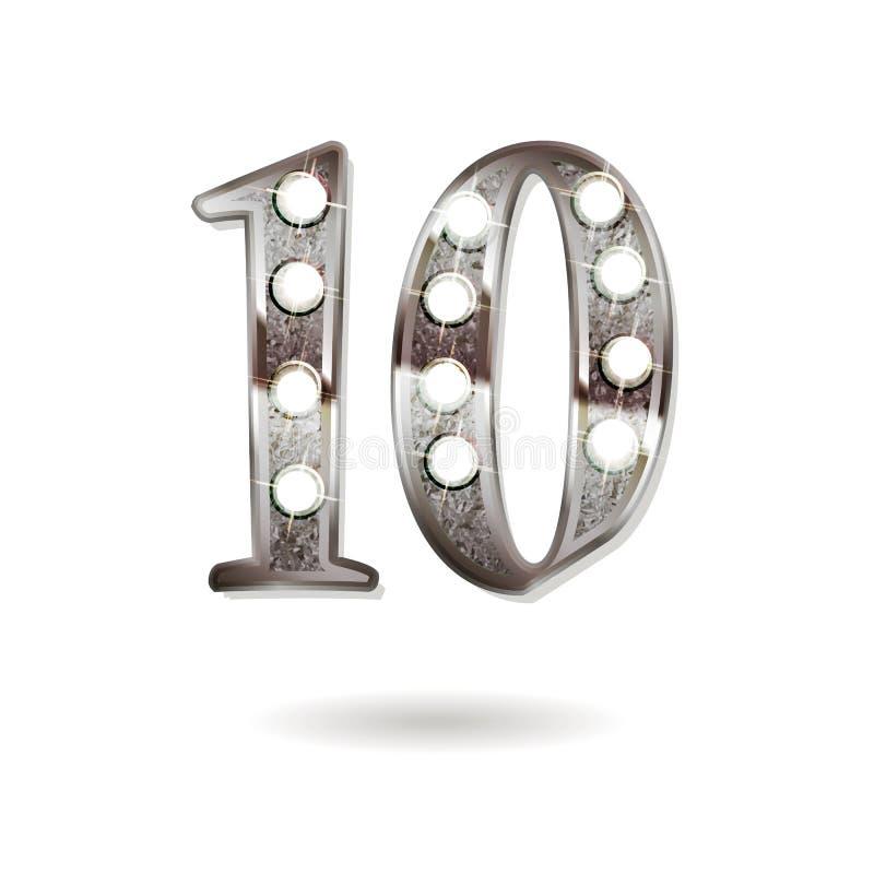 10 do aniversário anos de projeto da celebração ilustração do vetor