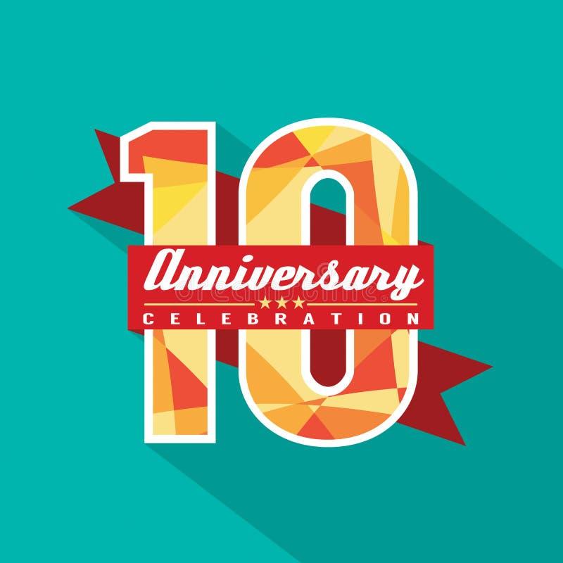 10 do aniversário anos de projeto da celebração ilustração royalty free