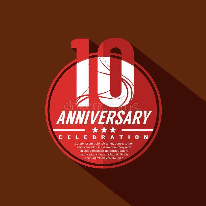 10 do aniversário anos de projeto da celebração ilustração stock