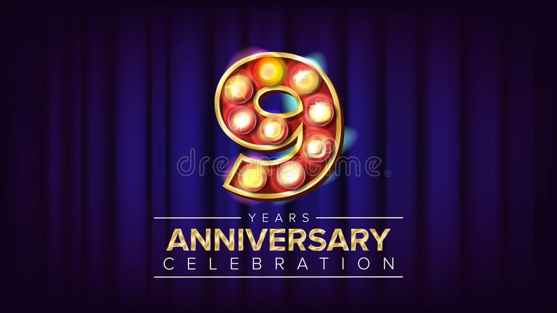 9 do aniversário anos de vetor da bandeira Nove, nona celebração Número iluminado dourado da luz de néon do vintage Para o negóci ilustração do vetor