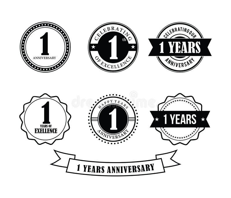 1 do aniversário do crachá do emblema ano de vetor do selo ilustração royalty free