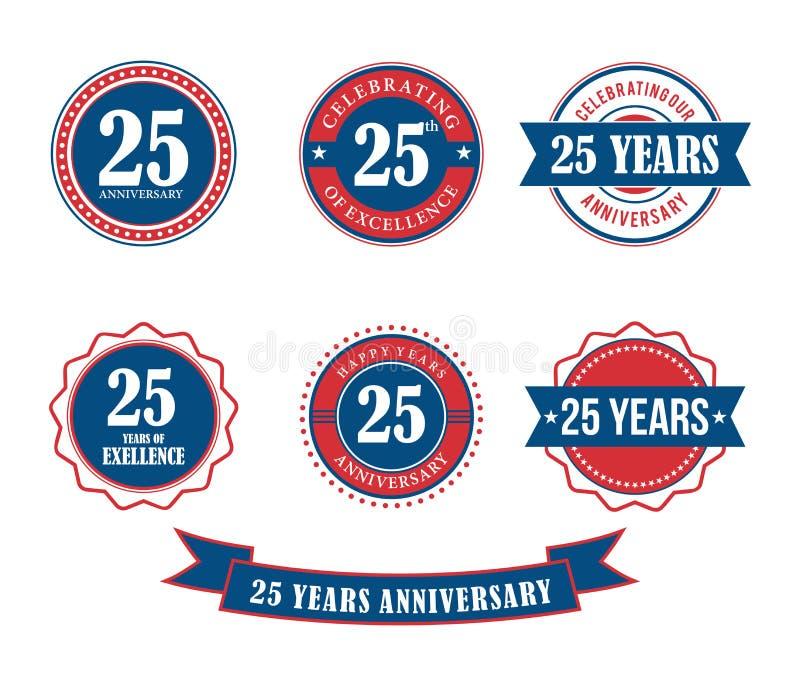 25 do aniversário do crachá do emblema anos de vetor do selo ilustração do vetor