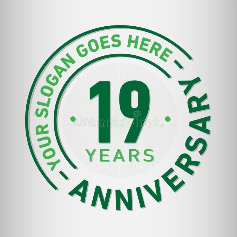 19 do aniversário da celebração anos de molde do projeto Vetor e ilustração do aniversário Dezenove anos de logotipo ilustração do vetor