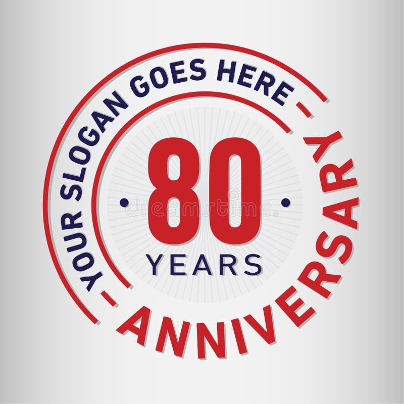 80 do aniversário da celebração anos de molde do projeto Vetor e ilustração do aniversário Oitenta anos de logotipo ilustração stock