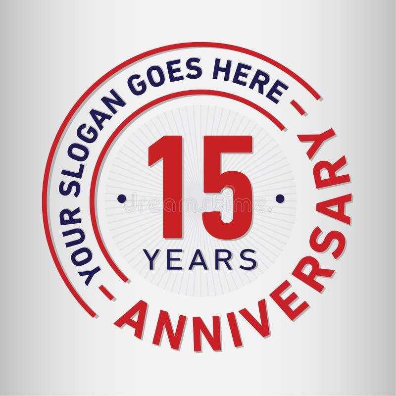 15 do aniversário da celebração anos de molde do projeto Vetor e ilustração do aniversário Quinze anos de logotipo ilustração stock