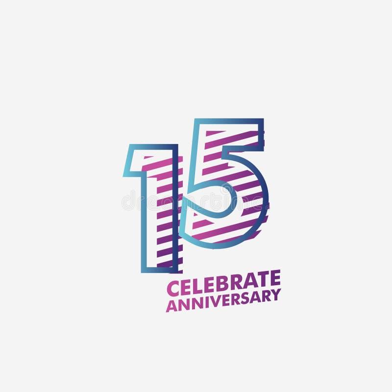 15 do aniversário da celebração do vetor do molde anos de ilustração do projeto ilustração royalty free