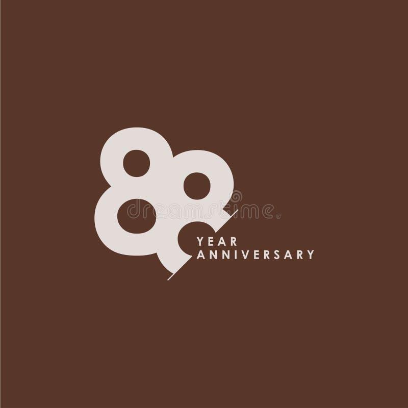 88 do aniversário da celebração do vetor do molde anos de ilustração do projeto ilustração royalty free