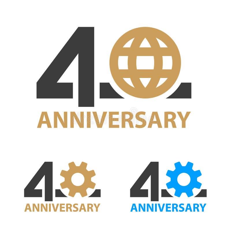 40 do aniversário da indústria da engrenagem anos de número do globo ilustração royalty free