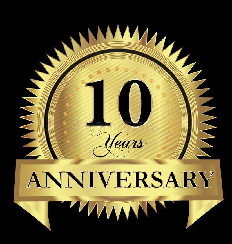 10 do aniversário do ouro do selo do logotipo anos de projeto do vetor ilustração royalty free