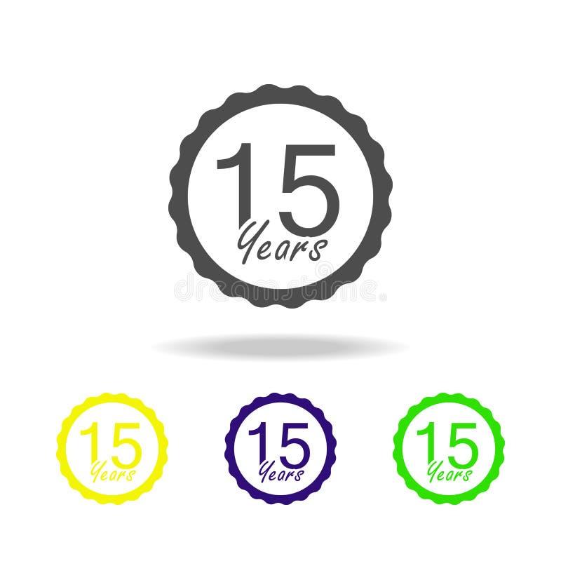 15 do aniversário do sinal anos de ícone da cor Elemento do ícone da cor do sinal do aniversário Sinais e ícone para Web site, We ilustração stock