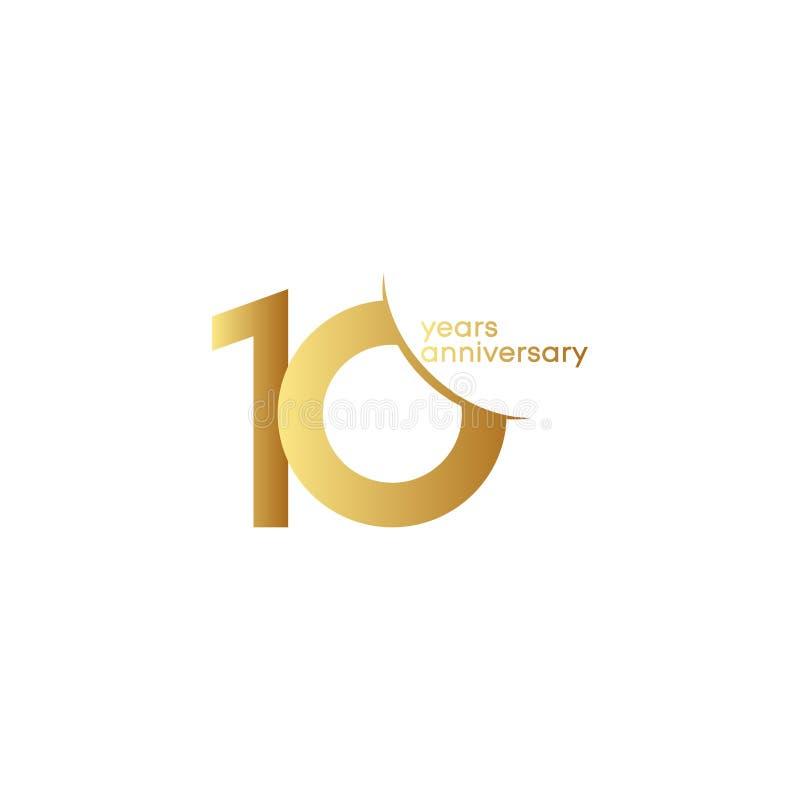 10 do aniversário do vetor do molde anos de ilustração do projeto ilustração do vetor