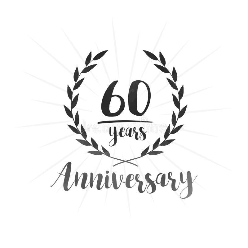 60 do anivers?rio anos de molde do projeto Sessenta anos de anivers?rio que comemora o molde do projeto ilustração royalty free