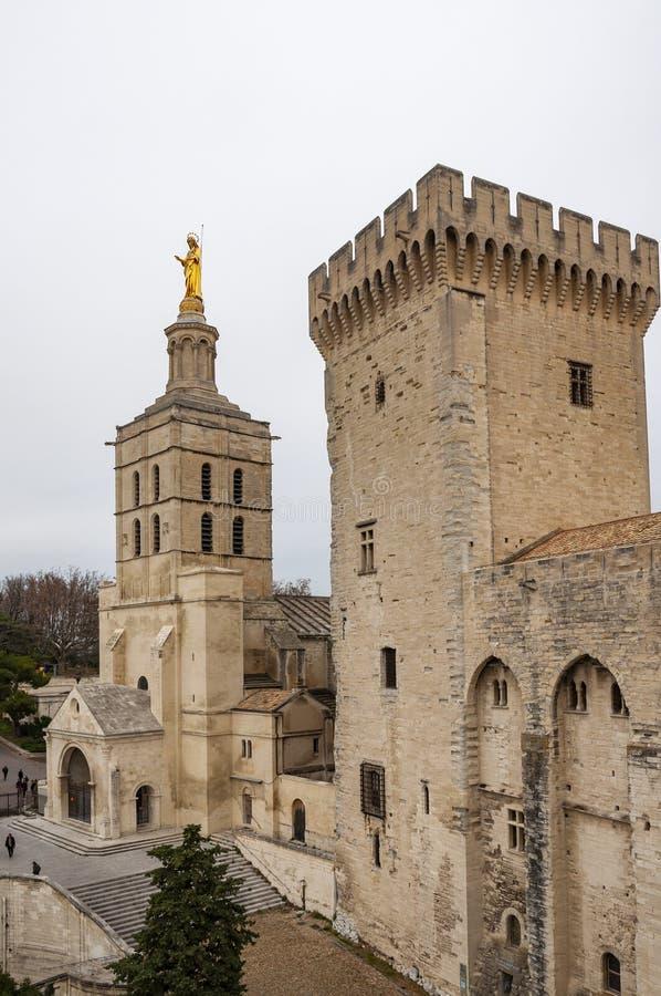 do awinionu France warowny miasto, ja krzyżuje Rhone rzeką Widok pałac Popes i katedra Notre-Dame obraz stock