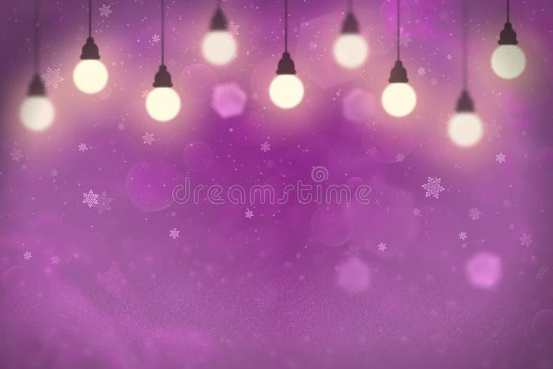 Do bokeh defocused brilhante fantástico das luzes do brilho do rosa o fundo abstrato com ampolas e os flocos de queda da neve voa ilustração stock