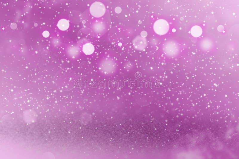 Do bokeh defocused brilhante fantástico das luzes do brilho do rosa o fundo abstrato com faíscas voa, textura do modelo do feriad ilustração royalty free