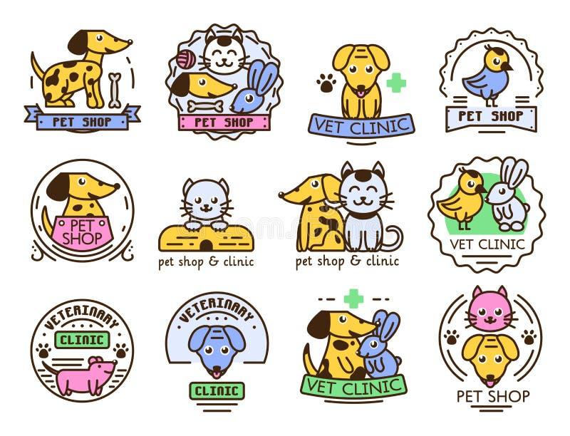 Do cão doméstico ajustado do gato das insígnias da etiqueta do gráfico de vetor do crachá do animal de estimação ilustração anima ilustração stock