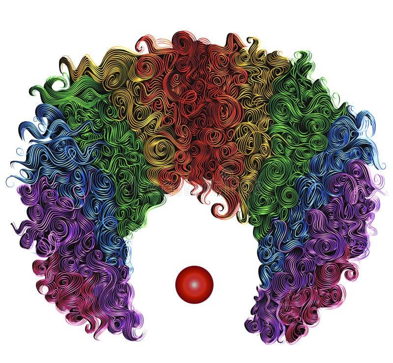 Do cabelo colorido da peruca do palhaço vestuário engraçado ilustração stock