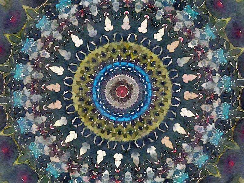 Do caleidoscópio colorido da aquarela de Mehendi fundo circular com estrelas ilustração royalty free