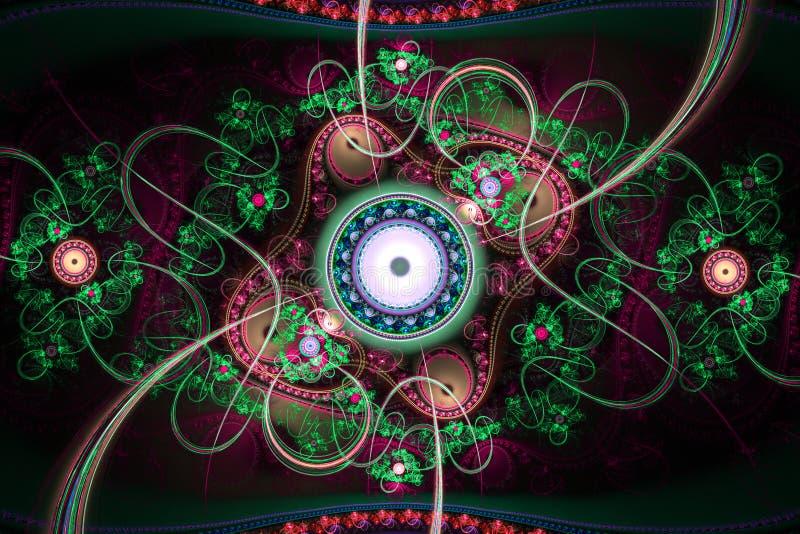 Do caleidoscope geom?trico dos testes padr?es das formas naturais do Fractal fundo m?gico ilustração royalty free