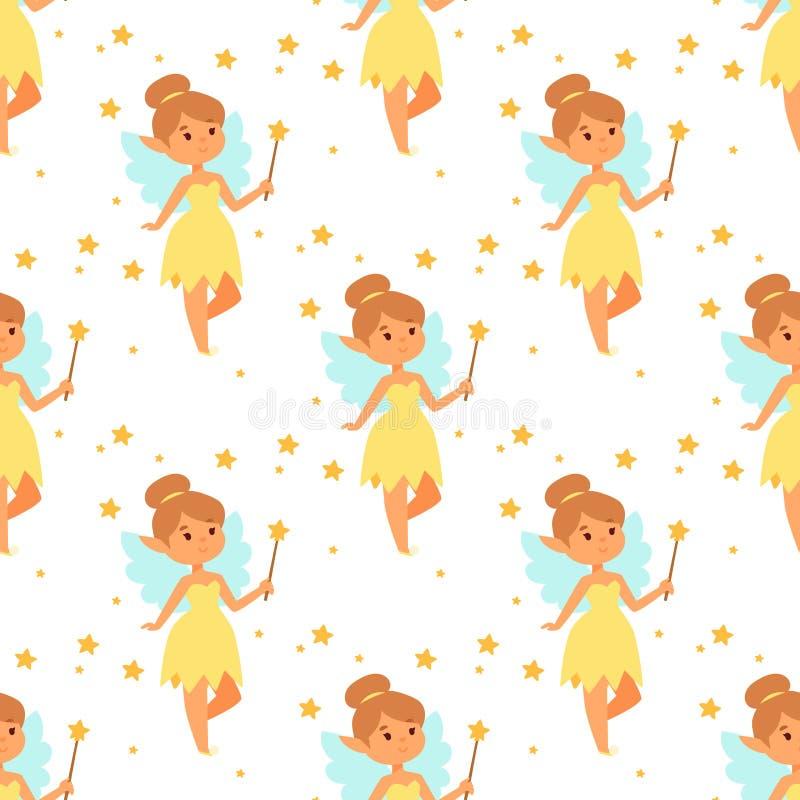 Do caráter feericamente do vetor da menina da princesa das fadas desenhos animados bonitos bonitos do estilo pouca fantasia da má ilustração stock