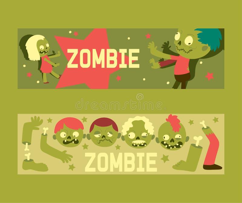 Do car?ter assustador do monstro do Dia das Bruxas do teste padr?o do vetor do zombi dos desenhos animados contexto assustador da ilustração stock