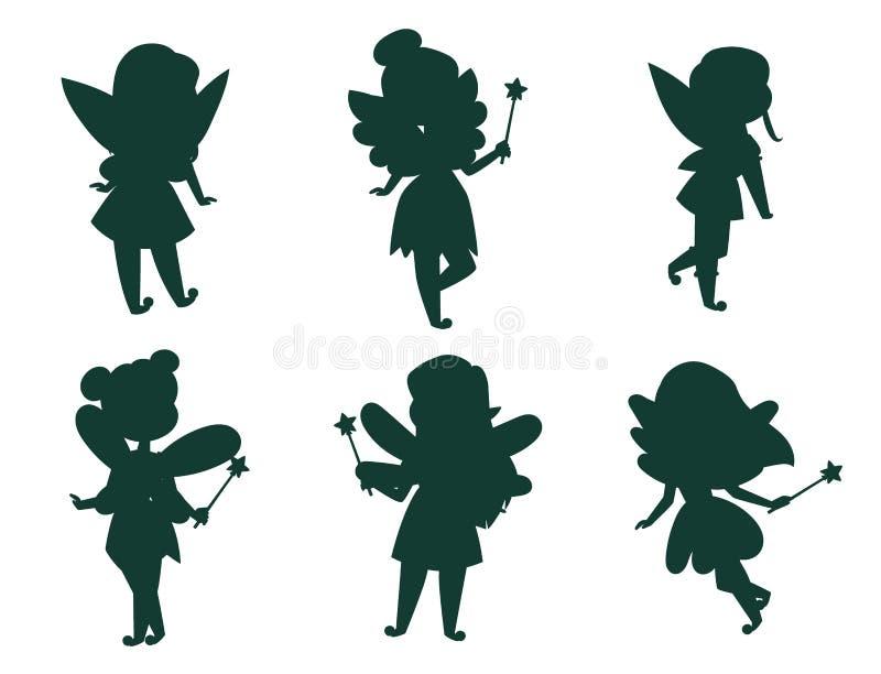 Do car?ter feericamente do vetor da menina da silhueta da princesa das fadas desenhos animados bonitos bonitos do estilo pouco tr ilustração royalty free