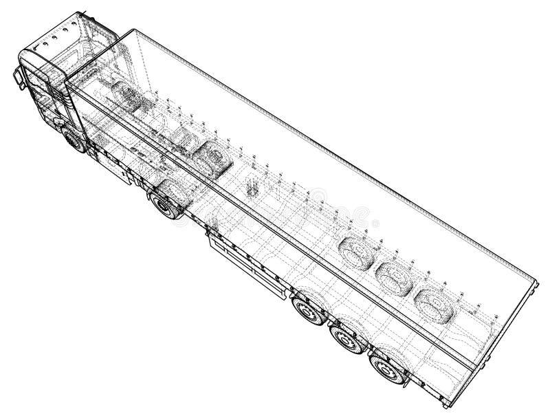 Do carro da entrega reboque do caminhão semi Fio-quadro Formato EPS10 Rendição do vetor de 3d ilustração do vetor