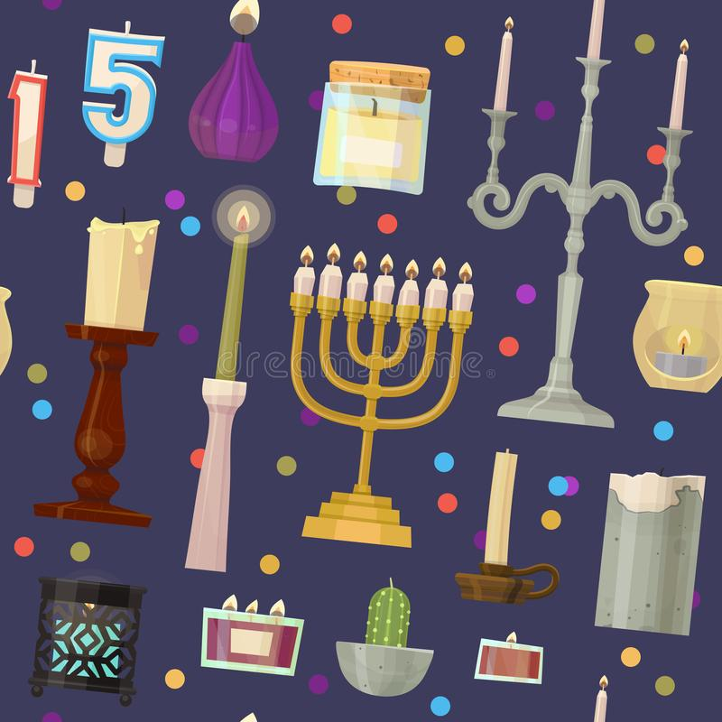 Do castiçal decorativo da cera da chama da luz de vela das velas do menorah de hanukkah do vetor Natal ajustado dos desenhos anim ilustração royalty free