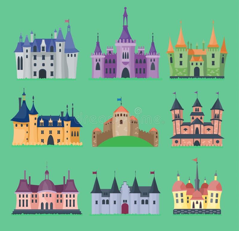Do cavaleiro trapezoide do ícone da torre do palácio do castelo do conto de fadas dos desenhos animados ilustração medieval da co ilustração royalty free
