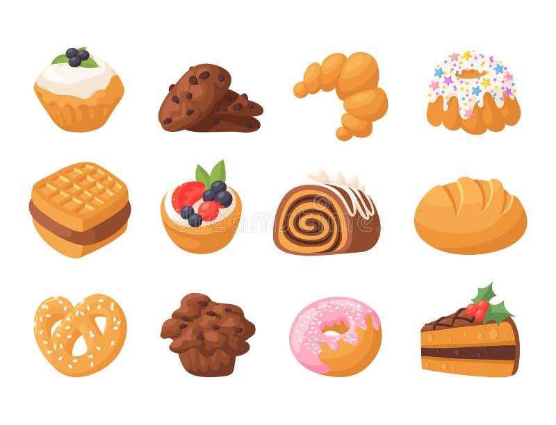 Do chocolate delicioso saboroso do petisco dos bolos do vetor da cookie o biscoito caseiro da pastelaria da cookie endurece o ali ilustração stock