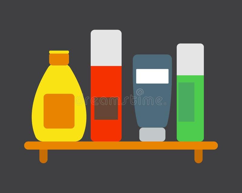 Do chuveiro plástico do recipiente do champô da garrafa do banho ilustração lisa do estilo para o projeto da higiene do vetor do  ilustração stock